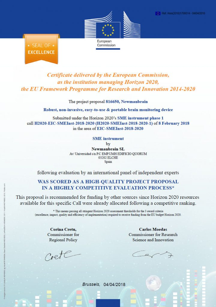 Newmanbrain Seal of Excellence horizon 2020